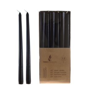 taper candles, black, unscented, 10 inch, victorian, goth, gothic