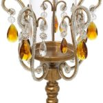 Victorian Gothic Golden Droplets Clear and Amber Crystal Hurricane Candle Holder