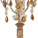 Victorian Gothic Golden Droplets Fay Gold 19.5 Inches High Crystal Candelabra Table Lamp